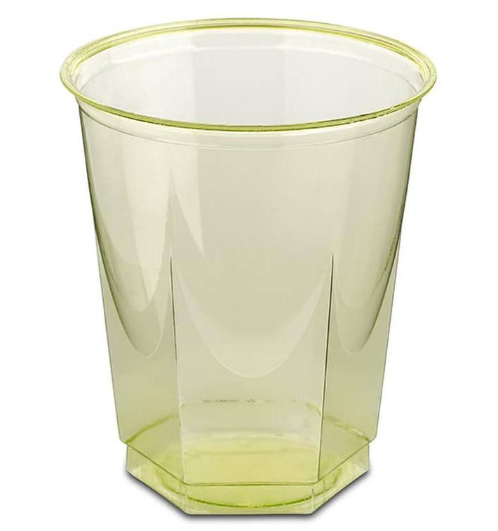 Vaso Plastico Hexagonal PS Cristal Pistacho 250ml (250 Uds)