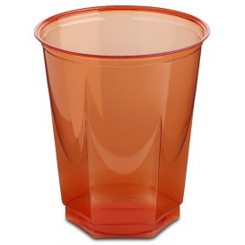 Vaso Plastico Hexagonal PS Cristal Rojo 250ml (10 Uds)