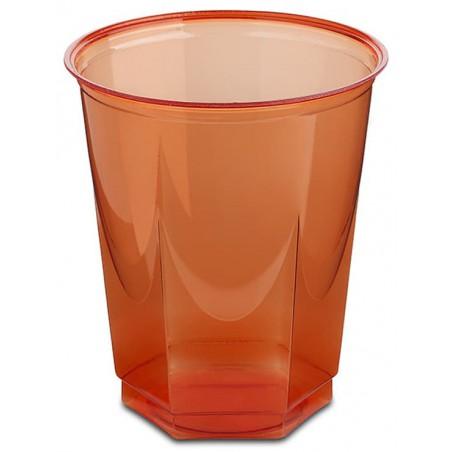 Vaso Plastico Hexagonal PS Cristal Rojo 250ml (10 Uds)