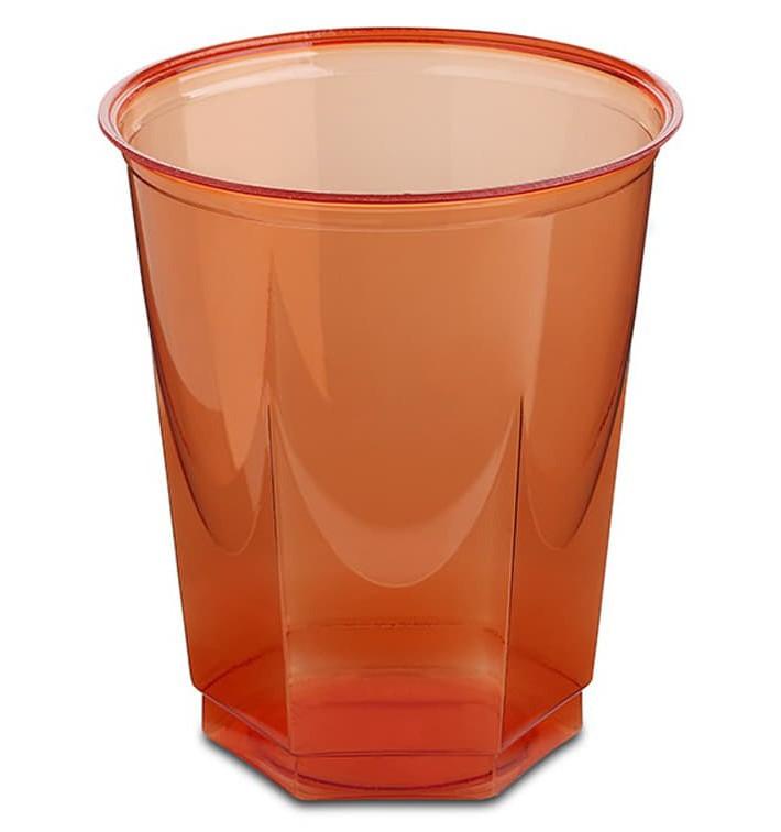 Vaso Plastico Hexagonal PS Cristal Rojo 250ml (250 Uds)