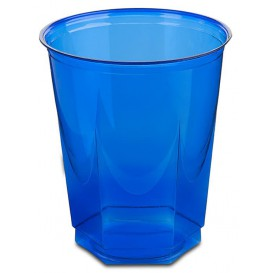 Vaso Plastico Hexagonal PS Cristal Azul 250ml (10 Uds)