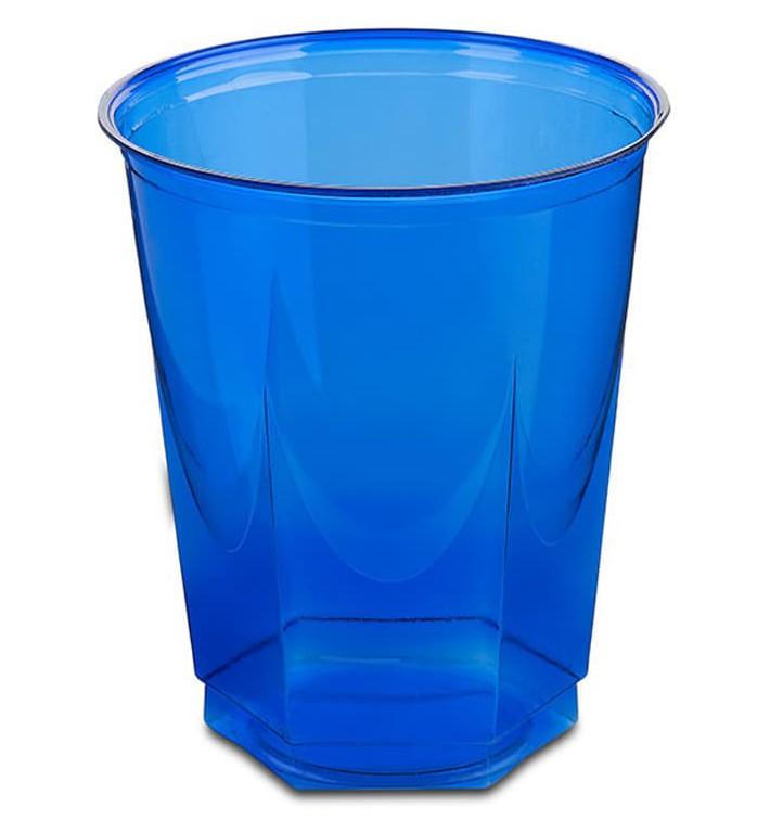 Vaso Plastico Hexagonal PS Cristal Azul 250ml (10 Uds)
