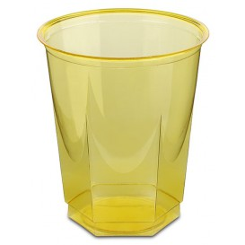Vaso Plastico Hexagonal PS Cristal Amarillo 250ml (10 Uds)