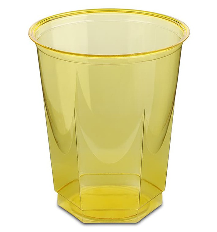 Vaso Plastico Hexagonal PS Cristal Amarillo 250ml (250 Uds)