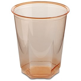 Vaso Plastico Hexagonal PS Cristal Naranja 250ml (10 Uds)