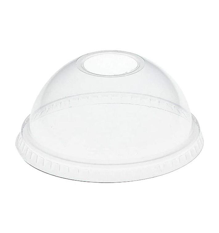 Tapa Cúpula con Agujero PET Cristal Ø8,3cm  (100 Uds)