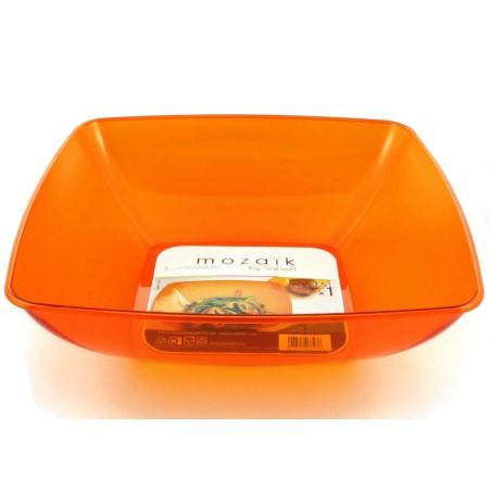 Bol de Plastico Cuadrado Naranja 28x28cm (1 Uds)