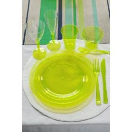 Plato Plastico Redondo Extra Rigido Verde 19cm (120 Uds)