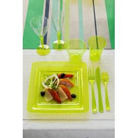 Plato Plastico Cuadrado Extra Rigido Verde 22,5x22,5cm (72 Uds)