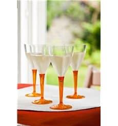 Copa de Plastico Vino Pie Naranja 130ml (60 Uds)