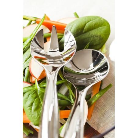 Cuchara y Tenedor de Plástico para Ensaladas Plata (5 Uds)