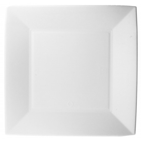 Plato Cuadrado Caña Azucar Nice Blanco 230x230mm (500 Uds)