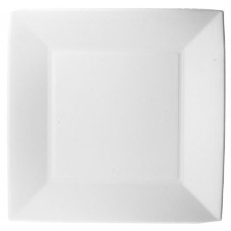Plato Cuadrado Caña de Azucar Nice Blanco 230x230mm (50 Uds)