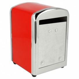 Dispensador Miniservis de Acero Rojo 10,5x9,7x14cm (12 Uds)