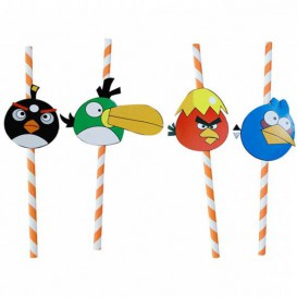 Pajita de Papel Decorada Pájaros Ø6mm 24cm (1000 Uds)