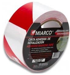 Cinta Adhesiva Señalización 5cmx33m Blanca/Roja (12 Uds)