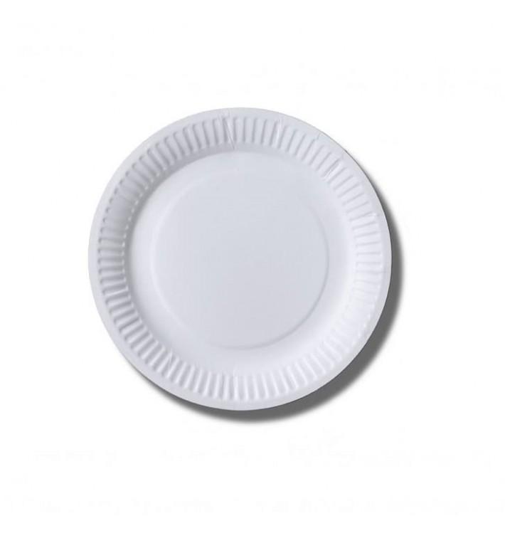 Plato de Papel Biocoated Blanco Ø18 cm (100 Uds)