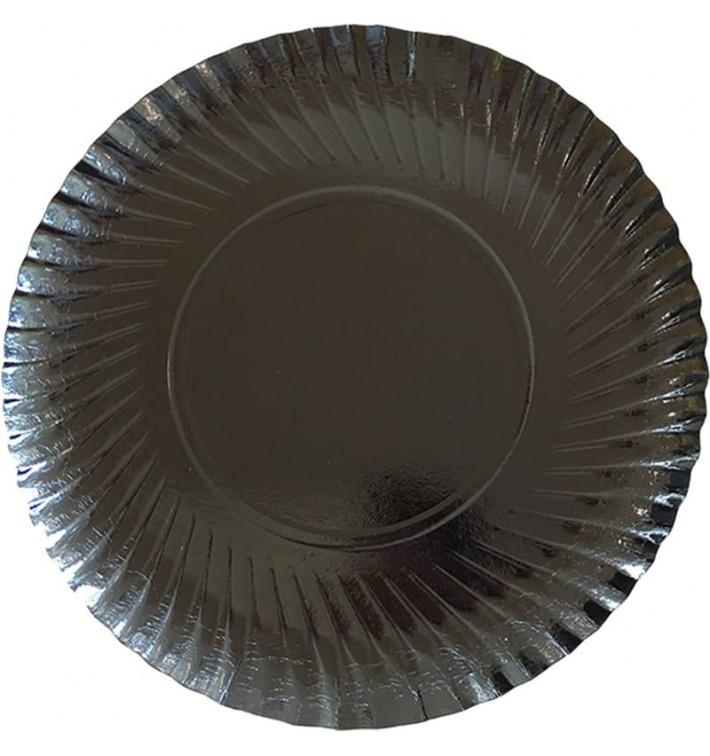 Plato de Carton Redondo Negro 250 mm (100 Uds)