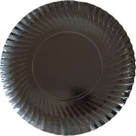 Plato de Carton Redondo Negro 300 mm (100 Uds)