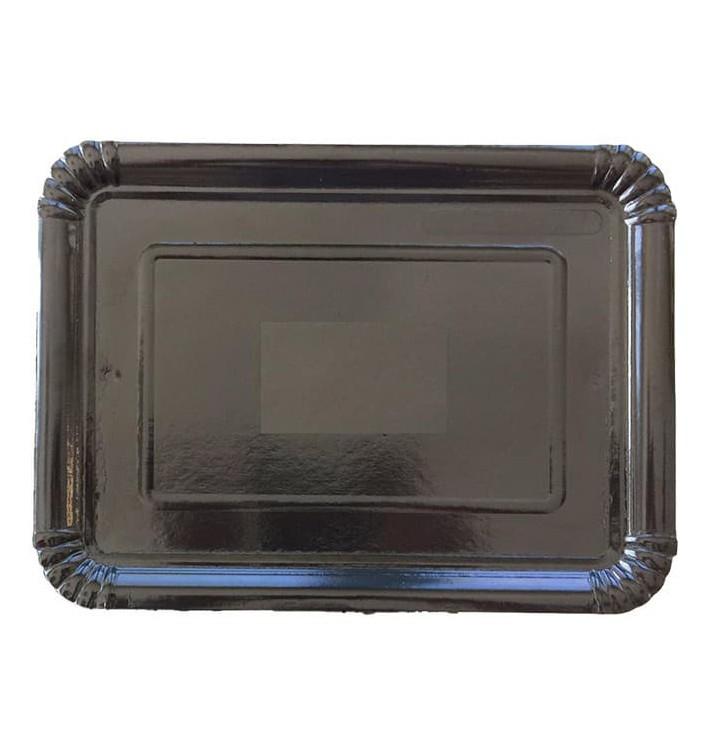 Bandeja de Carton Rectangular Negra 28x36 cm (100 Uds)