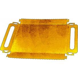 Bandeja Cartón Rectangular Oro Asas 28,5x38,5 cm (200 Uds)