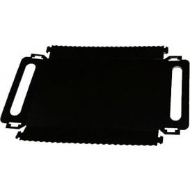 Bandeja Cartón Rectangular Negra Asas 12x19 cm (100 Uds)