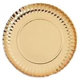 Plato de Carton Redondo Dorado 270 mm (400 Uds)