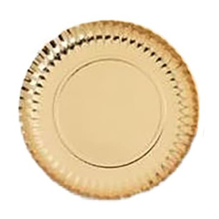 Plato de Carton Redondo Dorado 320 mm (50 Uds)