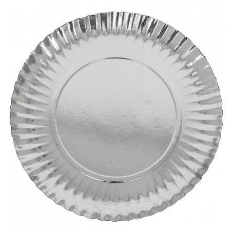 Plato de Carton Redondo Plateado 210 mm (100 Uds)