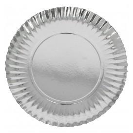 Plato de Carton Redondo Plateado 250 mm (100 Uds)