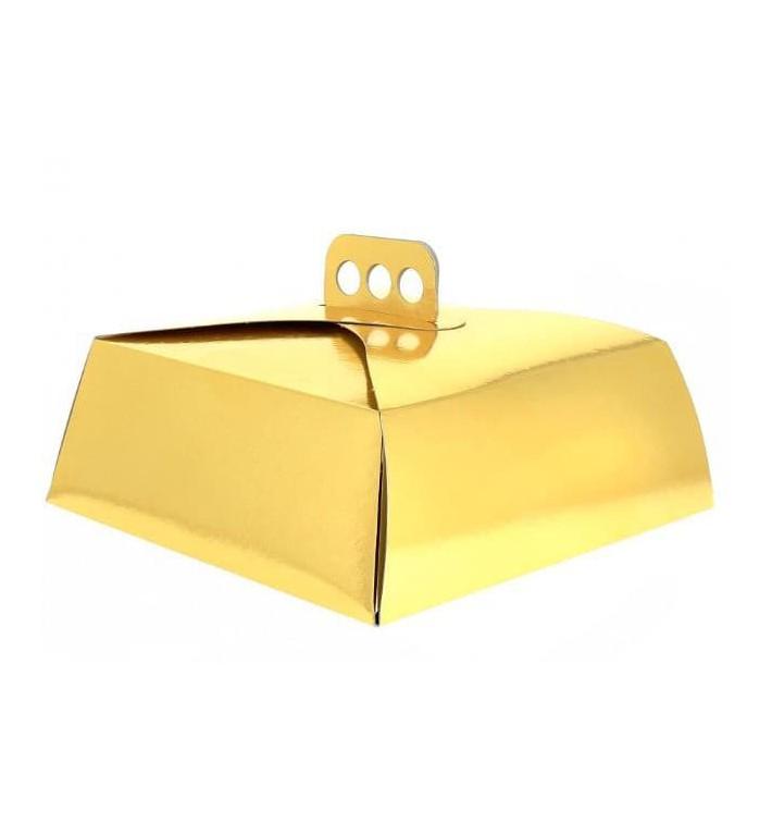 Caja Pasteleria Carton Oro con Tapa 325x325x100mm (100 Uds)
