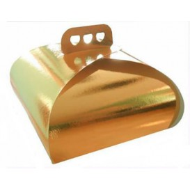 Caja Pasteleria Carton Oro Lazo 305x305x140mm (100 Uds)