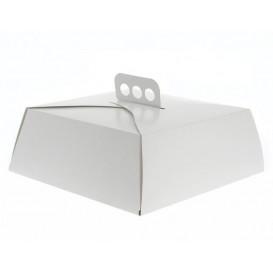 Caja Cartón Blanca Tarta Cuadrada 24,5x24,5x10 cm (100 Uds)