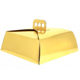 Caja Carton Oro Tarta Cuadrada 24,5x24,5x10 cm (100 Uds)