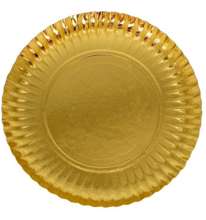 Plato de Carton Redondo Dorado 210 mm (100 Uds)
