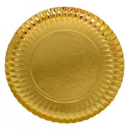 Plato de Carton Redondo Dorado 210 mm (800 Uds)