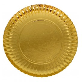 Plato de Carton Redondo Dorado 250 mm (500 Uds)