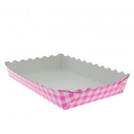 Bandeja Cartón Cerrada Gofres 18,2x12,2x3cm Rosa (500 Uds)