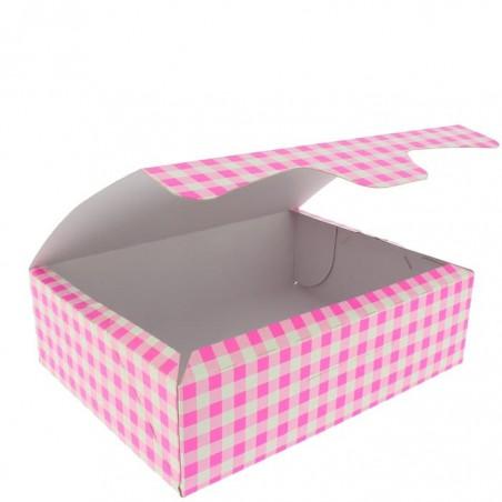 Caja Pasteleria Carton 18,2x13,6x5,2cm 500g Rosa (25 Uds)