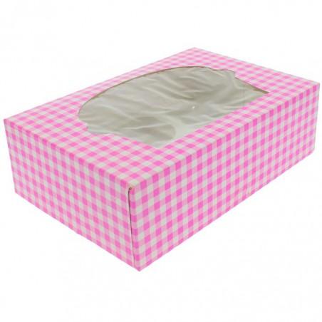 Caja 6 Cupcakes con Soporte 24,3x16,5x7,5cm Rosa (100 Uds)
