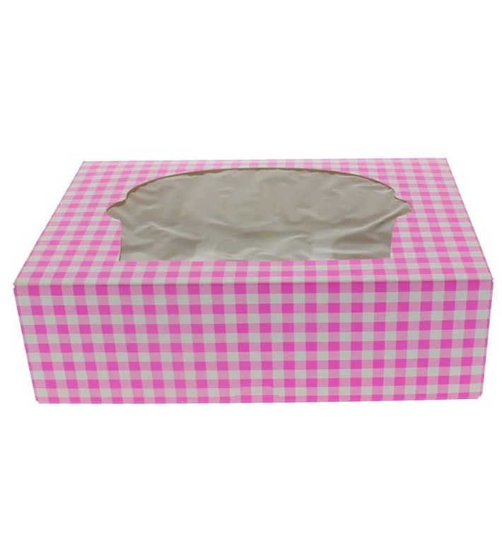 Caja 6 Cupcakes con Soporte 24,3x16,5x7,5cm Rosa (20 Uds)