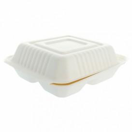 Envase MenuBox Caña Azúcar 3C Blanco 20x20x7,5cm (50 Uds)
