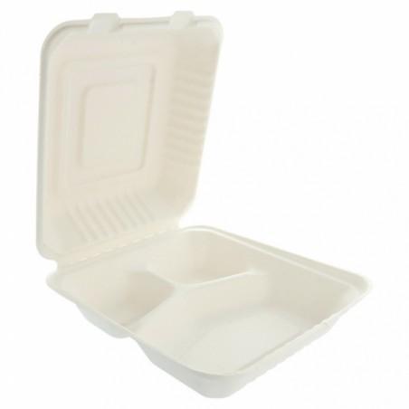 Envase MenuBox Caña Azúcar 3C Blanco 20x20x7,5cm (200 Uds)