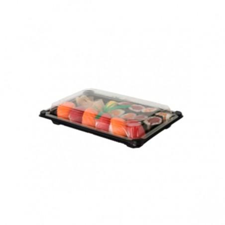 Envase con Tapa Sushi PLA Negro 15,0x23,0 cm (600 Uds)
