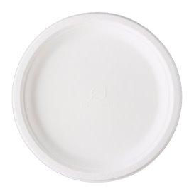 Plato Caña de Azúcar Bagazo Blanco Ø25,3 cm (500 Uds)