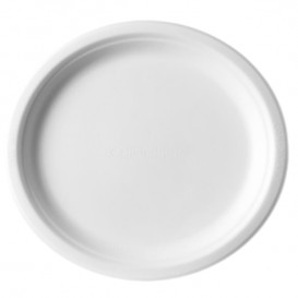 Plato Caña de Azúcar Bagazo Blanco Ø25,3 cm (50 Uds)