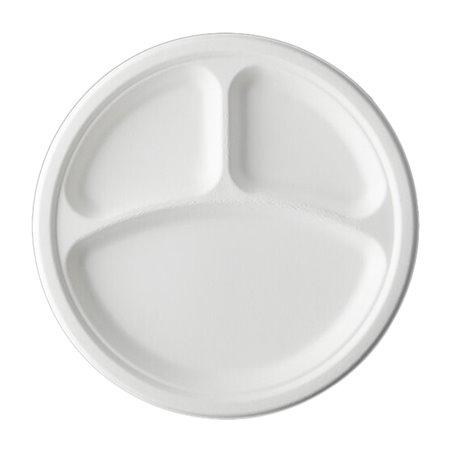 Plato Caña de Azúcar Bagazo 3C Blanco Ø25,3 cm (50 Uds)