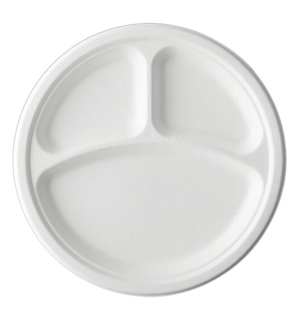 Plato Caña de Azúcar Bagazo 3C Blanco Ø23 cm (50 Uds)
