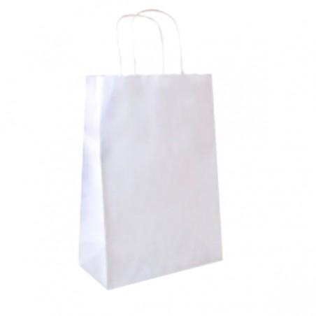 Bolsa Papel Kraft Blanca con Asas 80g 26+14x32 cm (50 Uds)