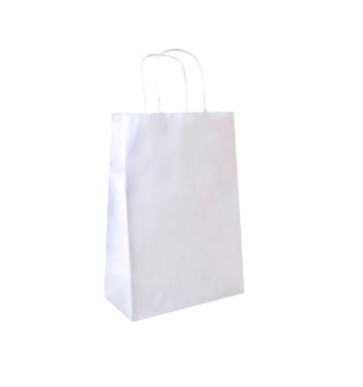 Bolsa Papel Kraft Blanca con Asas 80g 26+14x32 cm (250 Uds)